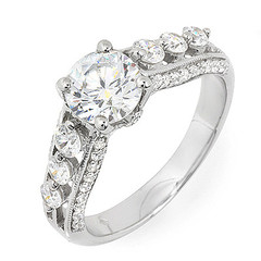 Split Shoulder with Six Side Stones Diamond Engagement Ring