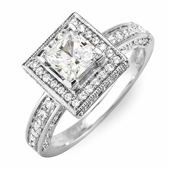 Square Halo with Side Stones Diamond Engagement Ring