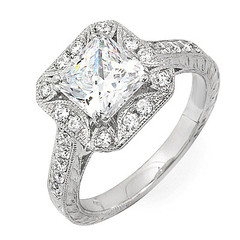 Thirty Eight Diamond Engagement Ring With Square Halo