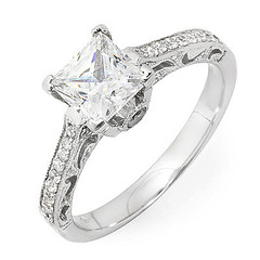 Traditional Princes Cut Diamond Engagement Ring