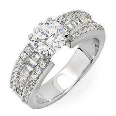 Tri Channel Shoulders Diamond Engagement Ring