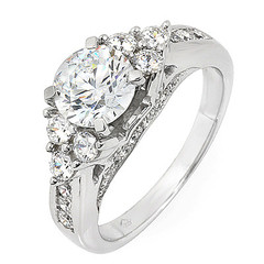 Tri Cluster Side Stone Diamond Engagement Ring