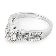 Tri Diamond Side Stone With Split Shoulder Diamond Engagement Ring
