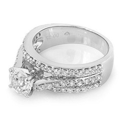 Tri Pave Cathedral Diamond Engagement Ring