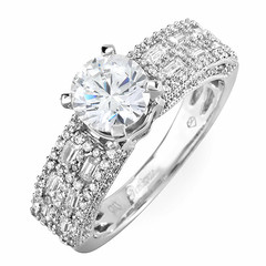 Tri Side Pave Shoulders Diamond Engagement Ring