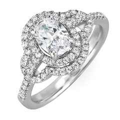 Oval Double Halo Diamond Engagement Ring