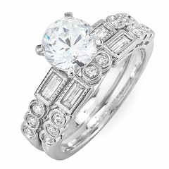 Round and Baguette Diamond Wedding Ring Set