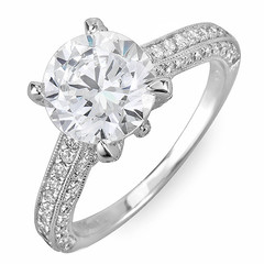 Solitaire with Pave Shank Diamond Engagement Ring