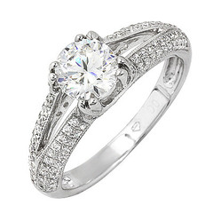 Pave Shank Diamond Engagement Ring