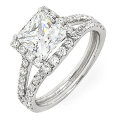 Split Shank with Square Halo Diamond Engagement Ring